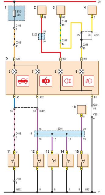 Схема соединений комбинации
