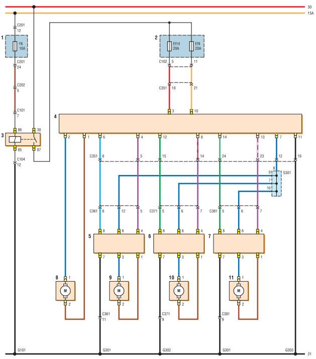 r664443d - Электростеклоподъемники подключение проводки правой двери