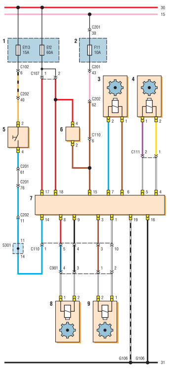 Схема соединений блока