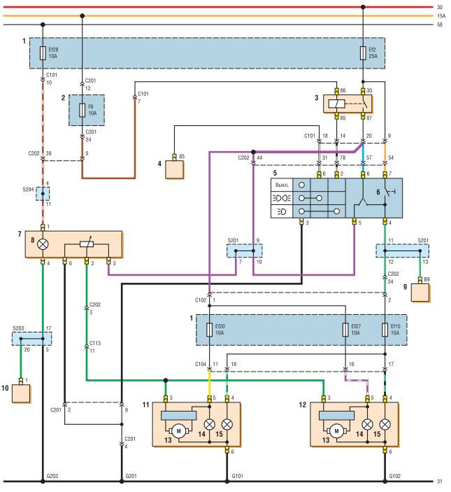 электросхема фар
